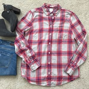 J. Crew Boy Fit Plaid Flannel Shirt